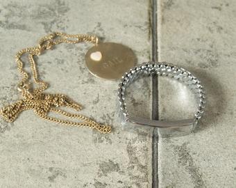 Vintage Lot ID Bracelet and Necklace Engraved Gail