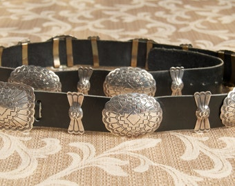 Vintage Wilbert Secatero Sterling and Leather Concho Belt  ove