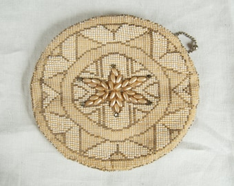 SALE WAS 28 Beautiful Oval Beaded Clutch With Dance Handle ret