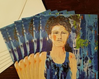 Resolute - package of 6 blank greeting cards by Theresa Wells Stifel