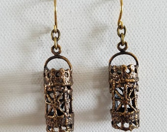 Bronze tone filigree barrel earrings