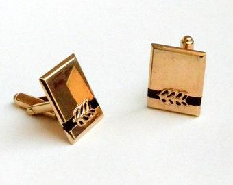 Hickok Golden and Black Cufflinks