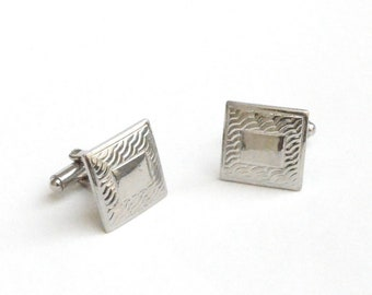 Embossed Silvery Square Cufflinks