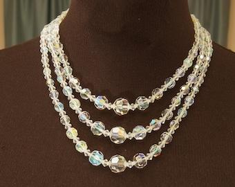Gorgeous Triple Strand Crystal Choker