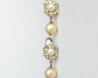 Vendome Crystal and Pearl clip on earrings