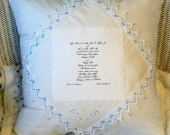 Personalized Wedding Pillow -Custom made by Theresa Wells Stifel
