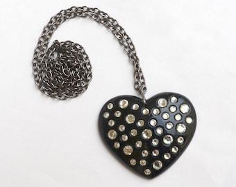 Big Rhinestone Heart Pendant and Chain
