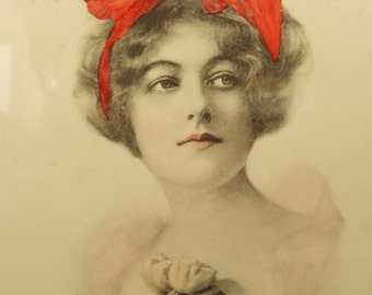 Lovely Antique Hand Colored Schlesinger Bros Photo of a Young Woman