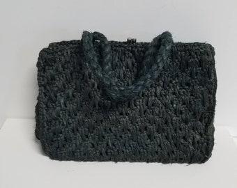 Handbag Black Raffia w/ built in Coin Purse
