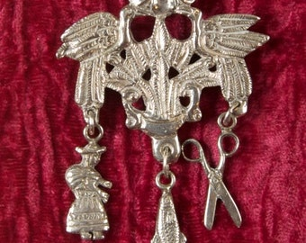 Outrageous Handcrafted Vintage Sterling Articulated Brooch Pendant rsb