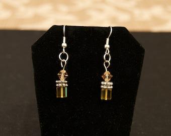 Amber Crystal Pierced Drop Earrings