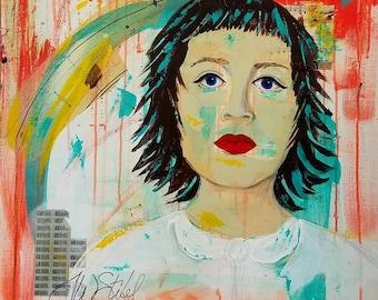 Waiting - 24x24 inch modern art, contemporary mixed media portrait by Theresa Wells Stifel