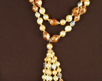 Fabulous Vintage Double Strand Necklace with Bead Tassel Pendant