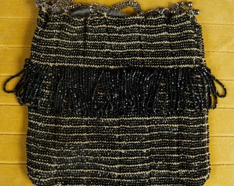 SALE WAS 120 Marvelous Black Beaded Antique Pouch with Chain Drawstring