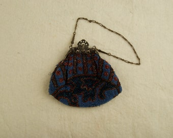 Antique Beaded Bag With Ornate Art Nouveau Frame and Chain rsb