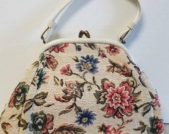 Charming crewel style carpet bag