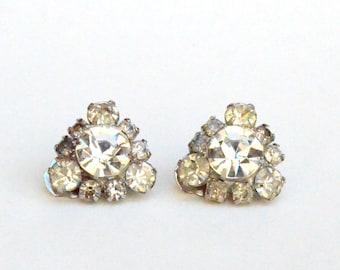 Amazing Oversized Rhinestone clip on Earrings