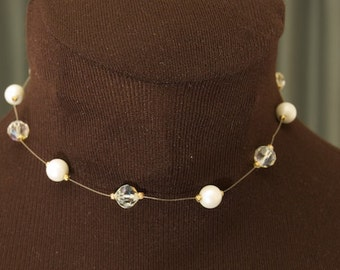 Vintage Faux Pearl and Crystal Choker