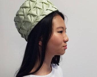 Mint Green Jacquard Pill Box Hat