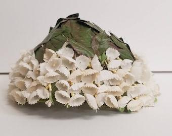 Leafy floral midcentury cap