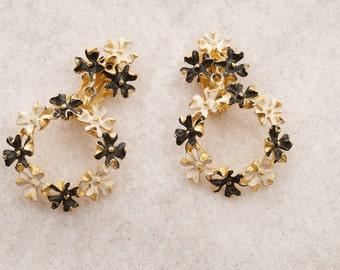 Black and White Enamel Earrings