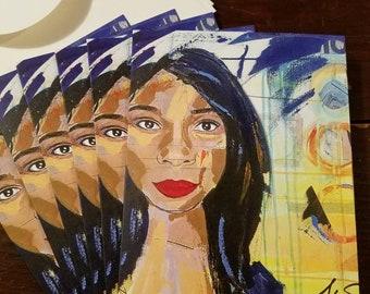 Fierce (detail) - package of 6 cards by Theresa Wells Stifel