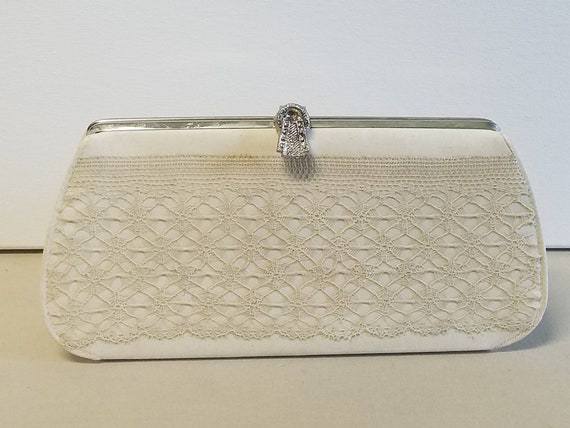 Lovely spiderweb lace upcycled evening clutch