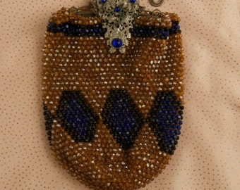 SALE WAS 175 Antique Beaded Bag With Silver Clasp and Chain dur