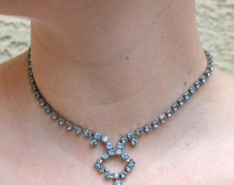 Sparkly Blue Rhinestone Necklace