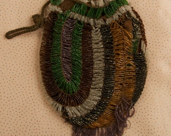 SALE WAS 40 Victorian Multi Colored Beaded Pouch lkh