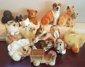 CLEARANCE COLLECTION Lot of ceramic/chalkware critters. Dogs, squirrel,  more. Bosson, Inarco, Leeds, Fitz & Floyd original value 260
