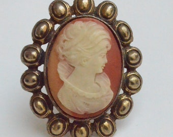 Antique Hand-carved Shell Cameo Pin Pendant