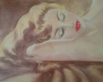 Lovely classic mid-century nude- Reclining Woman Watercolor framed boudoir art