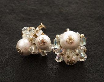 White Vintage Clip Back Earrings