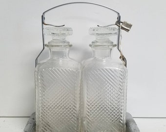 Locked Twin Molded Glass Decanters with Carrier