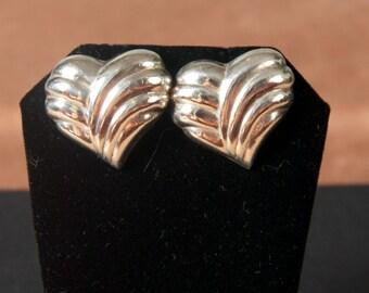 Vintage Sterling Puff Heart Pierced Earrings irl