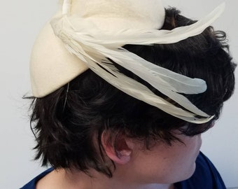 Creamy Feathered Fascinator by The Glad Hatter