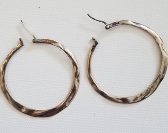 Hand wrought Sterling Hoops