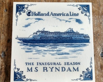 Lovely Vintage Holland America Ryndam Ship Ceramic Trivet (19G)