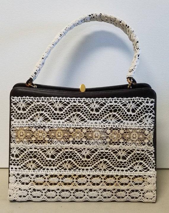 Upcycled lace handbag, midcentury bag by Dorian ma