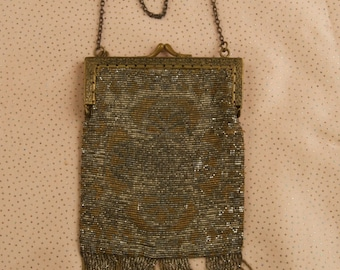 French Mixed Metal Beaded Flapper Dance Bag dur