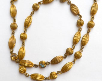 Ribbed Brass Bead Necklace