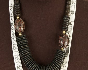 Primitive Wood and Shell Bead Necklace