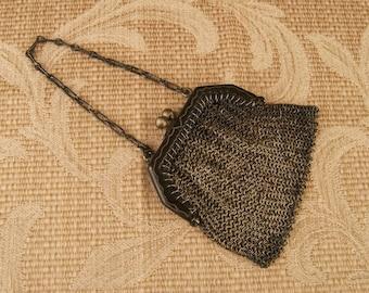 SALE WAS 130 Antique Mesh Mini Purse Chatelaine or Doll Size