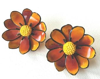 Orange Autumnal Enamel Flower Clip Earrings