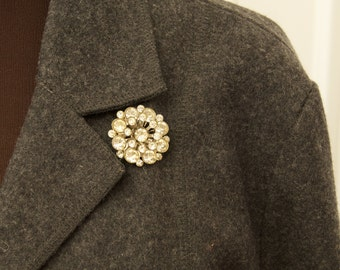 Vintage Dimensional Rhinestone Brooch Pin