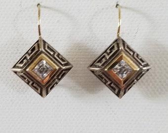 Greek key and crystal earrings