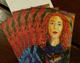 Lexi - package of 6 blank greeting cards from the art of Theresa Wells Stifel