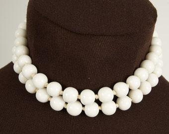Vintage White Glass Bead Double Choker