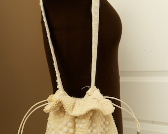Vintage White Beaded Shoulder Pouch
